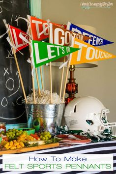 Make your own vintage-like Felt Sports Pennants! These are perfect as a party ce. Football Centerpieces, Football Party Decorations, Football Themes, Sports Themed Centerpieces, School Centerpieces, Football Decor, Sports Themed Birthday Party, Football Birthday, Sports Party