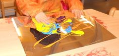 Dit is heel simpel en heel fijn voor de kleuters. De kleuters kiezen een paar kleuren verf en deze mogen ze uitsmeren op een stuk spiegel (plexiglas). Ze kunnen de kleuren door elkaar smeren, met hun vingers tekeningen maken of gewoon erdoor wrijven met de handen. Eventueel kan je het erna nog afdrukken op een blad.