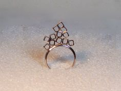 Sterling silver cocktail ring, lots of boxes, novelty, statement, abstract by RadiantOriginals on Etsy