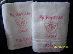 Personalized CTR Baptism Towel by HoneySuckleCabin on Etsy, $16.00