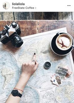 Map + coffee and travel essentials