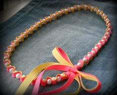 Two color ribbons necklace.  Twillypop Etsy shop.