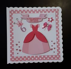 This card is x square with personalised insert Can be personalised with any name/age/relation The base card is made from white The first layer is a pink/white dotty pattern. Second layer is printed with princess dress, hearts, c. Birthday Card With Name, Homemade Birthday Cards, Girl Birthday Cards, Birthday Cards For Women, Birthday Cards For Friends, Happy Birthday Princess, Happy Birthday Fun, Disney Birthday, 8th Birthday