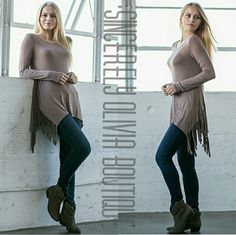 Mocha Fringe Top Long sleeve scoop neck mocha top with side fringe. Bring out your inner-wild child in this fun top! Lengthy enough to wear your favorite pair of leggings with for most people, but also looks amazing paired with jeans & boots!   Fit is true to size Available in: S, M, L  Price is firm  No Trades  Fast Shipping Sincerely Olivia Boutique  Tops Tees - Long Sleeve
