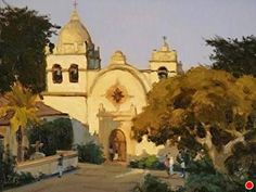 Sunrise at the Mission, Carmel by Brian Blood Oil ~ 12 x 16 Point Lobos State Reserve, California Missions, Contemporary Artists, Taj Mahal, Sunrise, Blood, Selection, Paintings, Urban