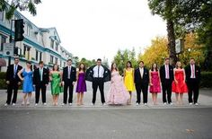 """colorful wedding party. I love this... except it bugs be that it's not in """"roy-g-biv"""" order. ;)"""