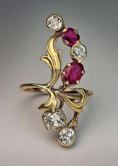 bb968f5779 Art Nouveau Ruby Diamond Antique Russian Ring #antiquejewelry Ruby Rings,  Emerald Rings, Ruby