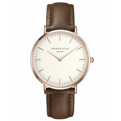 Bowery Or Rose Montre pour femme - bracelet en cuir brun   ROSEFIELD Watches