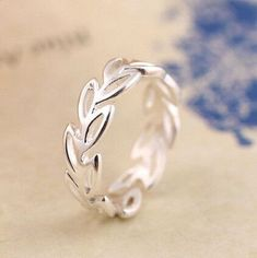 Simple Hollow Leaves Opening Ring 925 Sterling Silver Jewelry Fashion Wedding Rings For Women Bague Femme  #SilverJewelry