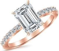 2.75 Ctw 14K Rose Gold Classic Side Stone Emerald Cut GIA Certified Diamond Engagement Ring