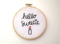 Doctor Who: Hello Sweetie Hand Embroidery in 5 inch Hoop