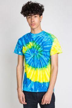 blue and yellow swirl tie dye shirt