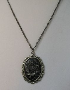 Gothic Grey Rose Cameo Necklace, Hand Painted Gun Metal Silver Shimmering Pearl .