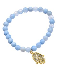 Devoted Blue Lace Agate Crystal Hamsa Bracelet