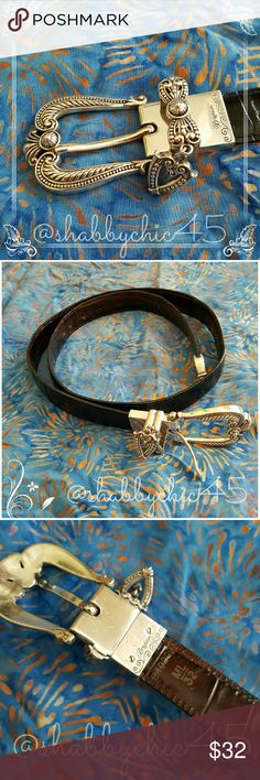 """Brighton """"Hearts"""" Reversible Leather Belt EUC Italian full grain leather with silver plated reversible buckle and belt heart shaped tip. 1 inch wide and 32 inches in length.  Belt features black and dark brown leather. Still available in Brighton stores and online. Retails for $60. Great price for a great belt!   Smoke free home. Open to reasonable offers unless marked as firm.  Please no trades or low balls. Happy Poshing!! Brighton Accessories Belts"""