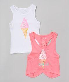 Look at this #zulilyfind! Sunglow Pink Ice Cream Tank Set - Girls #zulilyfinds