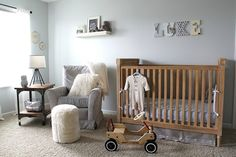 Classic Gray Gender-Neutral Nursery - love the soothing decor and vintage accents!