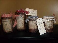Primitive Christmas grungy jars.