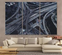 High Five Interchange Dallas Interchange Overpass Canvas Print Elevated Road Canvas City Wall Art Print Home Decoration Highway Canvas Decor by ArtWog Tree Canvas, Canvas Wall Art, Wall Art Prints, Office Wall Decor, Office Walls, Art Central, Oversized Wall Art, Large Canvas Prints, Thing 1