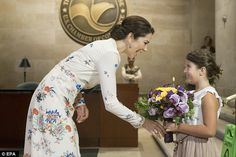 Crown Princess Mary of Denmark was barely able to contain her delight today as Mia Heltber...