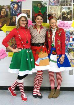 45 Christmas Sweater Ideas & tree skirt for xmas party - Reny styles Tacky Christmas Outfit, Tacky Christmas Party, Christmas Dress Up, Diy Ugly Christmas Sweater, Xmas Party, Christmas Clothes, Diy Christmas Costumes, Whoville Costumes, Christmas Scenes