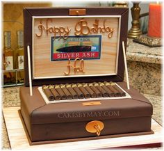a cigar cake box for her boyfriends birthday. The cigar cake box was so appropriate for t. Adult Birthday Cakes, Dad Birthday, Birthday Ideas, Fancy Cakes, Cute Cakes, Cigar Box Cake, Cigar Party, Cakes For Men, Unique Cakes