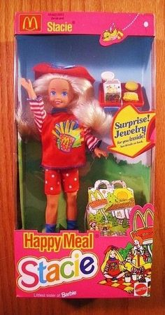 """Mattel 1993 McDonald's Barbie HAPPY MEAL STACIE LITTLE SISTER 8"""" Toy DOLL NEW"""