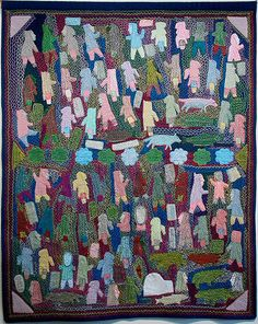 untitled (community) - Annie Taipanak i'd love to make one in each centre - have people create their own images Thats All Folks, Inuit Art, Canadian Artists, Textile Art, Fiber Art, Art Boards, Annie, Needlework, Centre