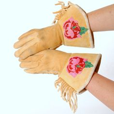 Vintage Gauntlet Gloves with Native American Beading. Find these at luckystargallery.com $150
