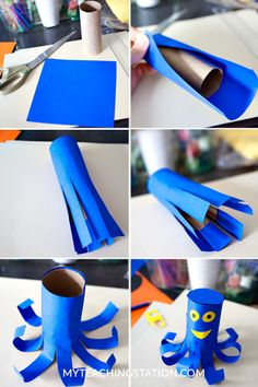 Toddler simple art project steps with recycled toilet paper roll