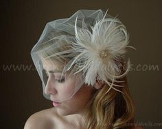 Bridal Veil With Flower, Tulle Wedge Birdcage Veil with Ostrich Tip Feather Fascinator, Wedding Head Piece, White, Ivory, Black