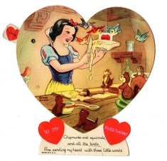 1938 Walt Disney Snow White Seven Dwarfs Mechanical Card Vintage Valentine | eBay