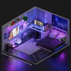 Gamer Bedroom, Bedroom Setup, Room Design Bedroom, Modern Bedroom Design, Bedroom Layouts, Room Ideas Bedroom, Bedroom Decor, Small Game Rooms, Gaming Room Setup