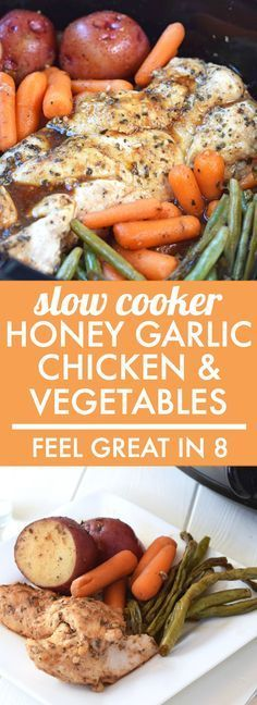 Slow Cooker Honey Garlic Chicken and Vegetables - This is as easy as a healthy dinner gets! Throw all of the real food ingredients into the Slow cooker and you've got a delicious dinner the whole family will love! Real Food Recipes, Cooking Recipes, Healthy Recipes, Crock Pot Healthy, Slower Cooker Recipes Healthy, Healthy Tips, Healthy Crockpot Chicken Recipes, Slow Cooker Meals, Zone Recipes