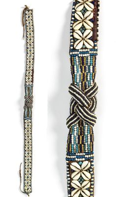 Africa | Belt from the Kuba people of DR Congo | Leather, glass beads and cowrie shells