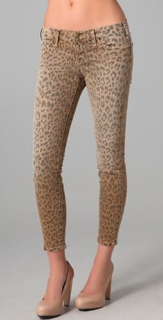 Current Elliot Stiletto Skinny Jeans in camel leopard. Planning to pair with black sheer Equipment blouse and gold jewelry.