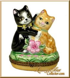 Loving Cat Couple (Beauchamp) This adorable Limoges box represents a LOVING CAT COUPLE. Inside is a painting of HIS & HER PAW PRINTS!