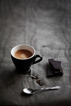 Dont know what i love more.....a cup of coffee or a piece of dark chocolate