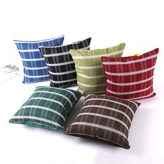 Thick Pillow Case Stripe Pattern Flax Pillow Covers Zip Home Coffee Office Decorative Cases Home Textile Products 45x45CM #Affiliate