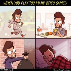 When You Play Too Many Video Games (GIF) #gif #gaming #videogames #gamers #geek #funny