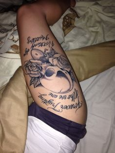 Skull and rose thigh tattoo, Metallica nothing else matters lyrics. Love!