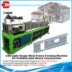 C89 sigle profile light steel frame forming machine for low-rise building,sell with Vertex BD software