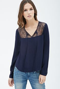 Lace-Paneled Pintucked Blouse | Forever21 - 2052288160
