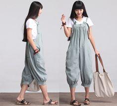 Casual Loose Fitting Linen Suspender Slacks - Green Pants - Women Clothing (R)