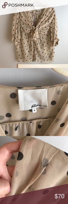 Phillip Lim Polka Dot Bow Front Blouse Sheer chiffon lola dot blouse with bow front from Phillip Lim. Slight lose threads as shown in photo, but overall in great shape! Fits oversized. 3.1 Phillip Lim Tops Blouses