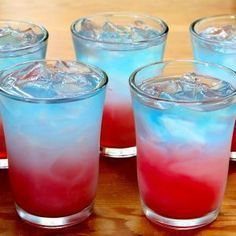 Bomb Pop Shots   1/3 ounce Sprite, 1/3 ounce lemon vodka, 2/3 ounce blue curacao, 2/3 ounce grenadine ice