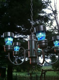 From Trash to Treasure…Recycled Chandelier to Solar Garden Light…I just nee… - Modern Solar Chandelier, Outdoor Chandelier, August Birth Flower, Solar House Numbers, Easy Garden, Garden Ideas, Backyard Retreat, Trash To Treasure, Light Project