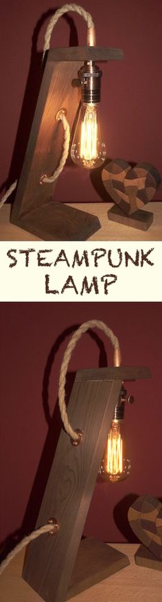 Steampunk lamp made with pallet wood and with an Edison bulb.