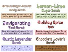sugar scrub labels with names