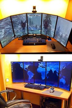 Coolest Multi-Display Computer Setups This is a cool office idea. Incensewoman